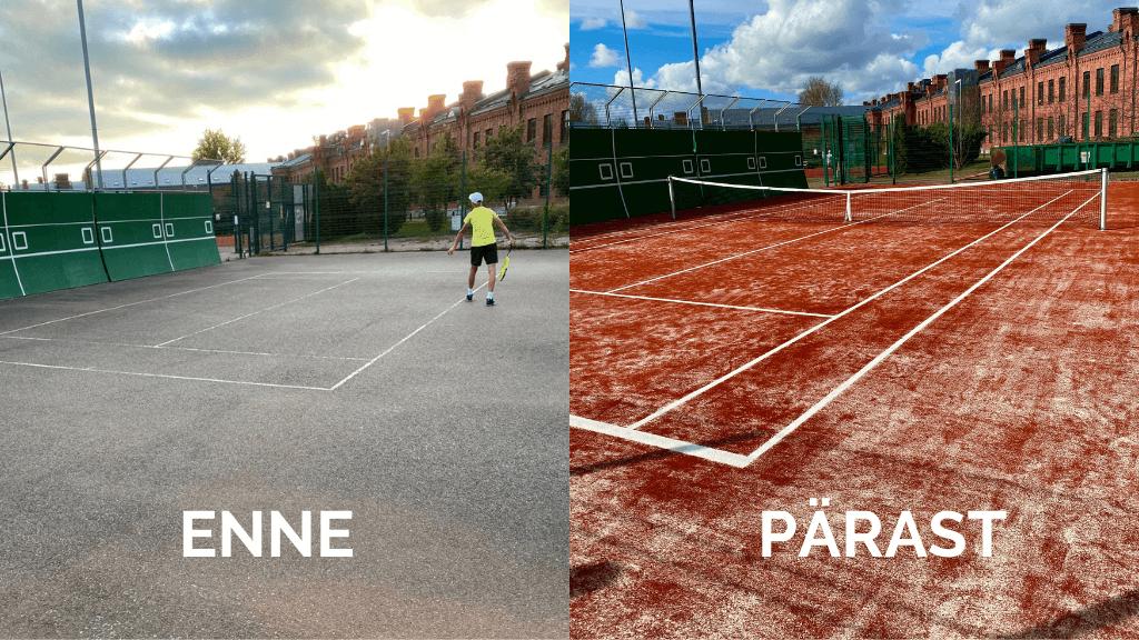Vana tenniseväljaku rekonstrueerimine - enne ja pärast